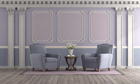 Retro style living room with pastel color, elegant armchair and classic decor elements - 3d rendering