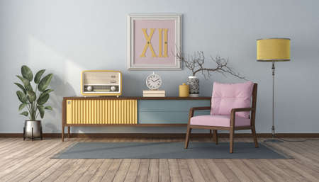 Vintage style living room with pastel color, sideboard and pink armchair - 3d rendering Stockfoto