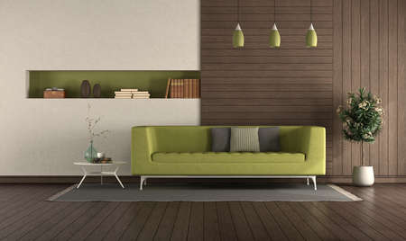 Green sofa in a modern living room with wooden panels and niche - 3d rendering