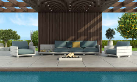 Modern sofa and armchairs by the pool under a wooden roof with brazier