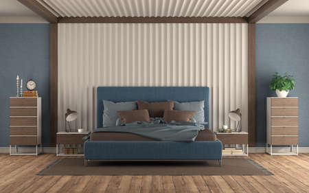 Modern bedroom with blue double bed against gypsum panel, nightstand and chest of drawers - 3d rendering