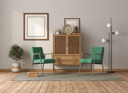 Vintage style living room with wooden drawer sideboard and green armchairs - 3d rendering