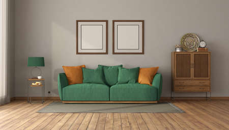Green sofa in a vintage interior with sideboard with drawers and blank picture frame - 3d rendering