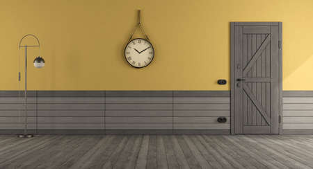 Retro style home entrance with front door, yellow wall and gray wooden paneling - 3d rendering