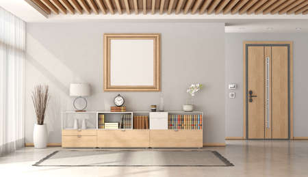 Minimalist home entrance with front door and sideboard with decor objects and wooden ceiling - 3d rendering