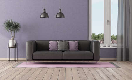 Purple room with black leather sofa and large window - 3d rendering