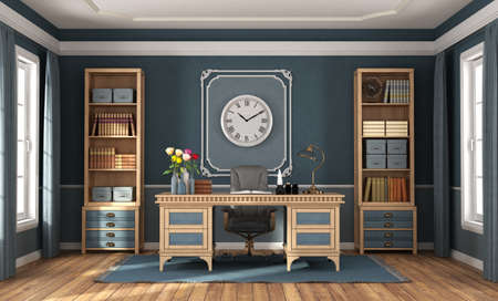 Classic style home office with blue walls, wooden desk and bookcases - 3d rendering Stockfoto