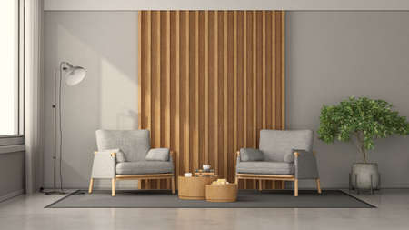 Minimalist living room with two armchairs against wooden panel, coffee table and floor lamp - 3d rendering Stockfoto