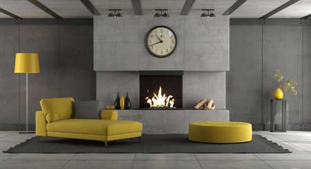 Living room with concrete wall, fireplace and yellow furnishings - 3d rendering