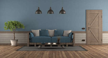 Retro style room with front door, wooden sofa with blue and gray cushions - 3d rendering