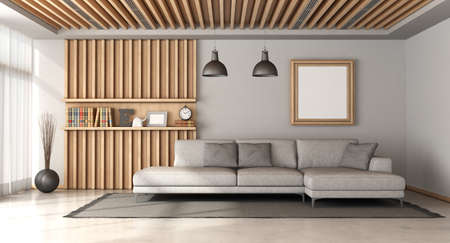 Stylish scandinavian style living room with large gray sofa and wooden panel with shelf on background - 3d rendering Stockfoto