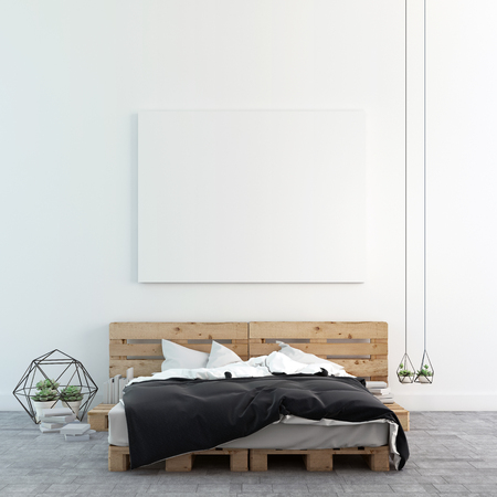art gallery interior: Loft bedroom with mock up photo canvas 3D rendering Stock Photo