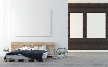 modern interior design: Loft bedroom with art gallery 3D rendering