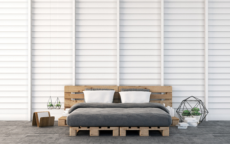 loft: Loft bedroom with wood wall 3D rendering