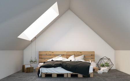 attic: Attic bedroom with palette bed 3D rendering