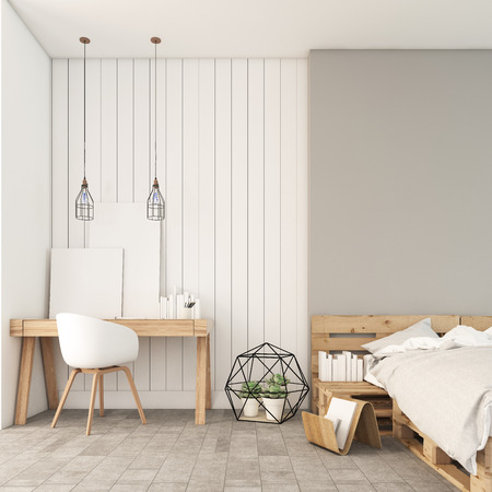 minimal: Minimal white working and bedroom  3D render image