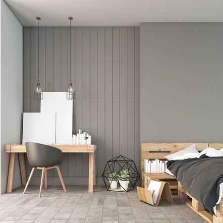 render: Minimal working and bedroom  3D render image