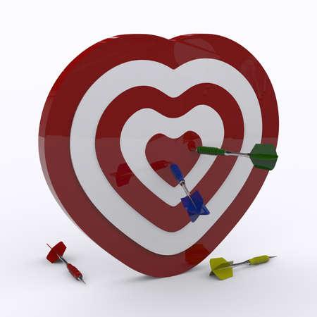 backsight: heart and darts Stock Photo