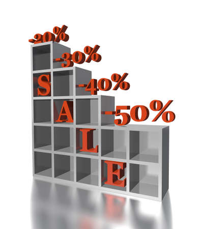 40 50: 3d red text SALE 20, 30, 40, 50 % with chair and rack isolated in white Stock Photo