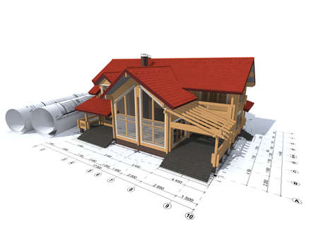 3D rendering of a house project on top of blueprints