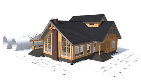 house render: 3D rendering of a house project on top of blueprints