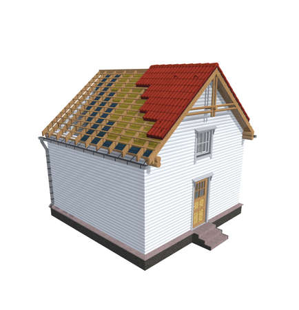 architecture model: Architecture model house showing building structure, isolated on white Stock Photo