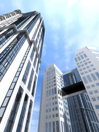 sky scrapers: High-rise modern buildings reflect each other