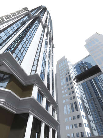 commercial building: High-rise modern buildings reflect each other