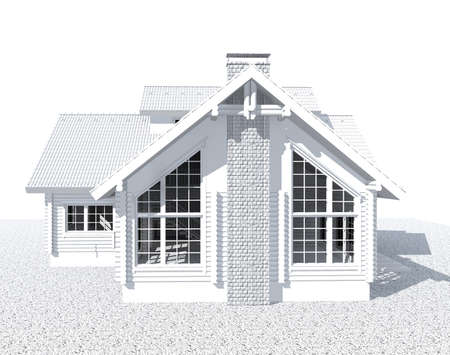 architecture model: 3D white architecture model house  isolated on white