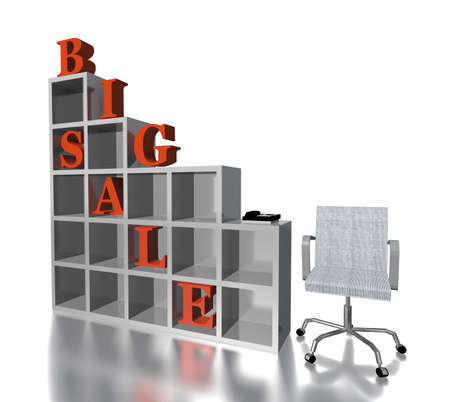 3d red text  BIG SALE with chair and rack isolated in white photo