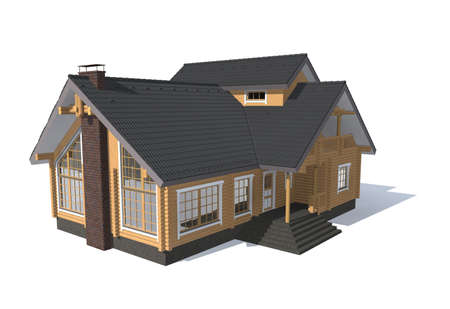 residential home: 3D architecture model house  isolated on white