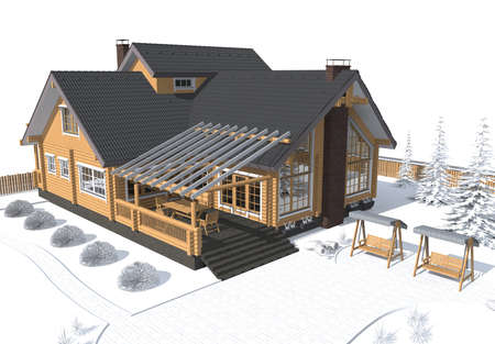 roof top: 3D architecture model house gray with white environment Stock Photo