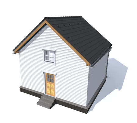 architecture model: 3D architecture model house gray  isolated in white Stock Photo