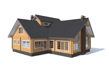 3D architecture model house  isolated in white