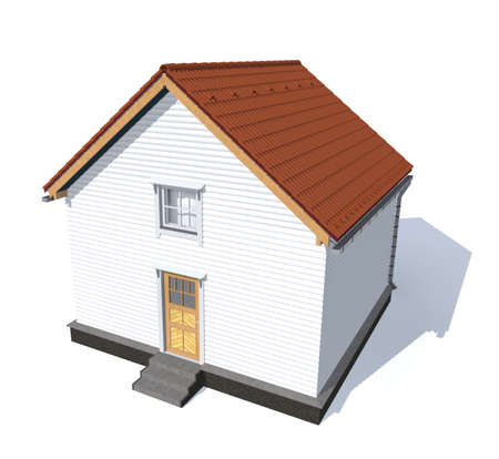 architecture model: 3D architecture model house red  isolated in white