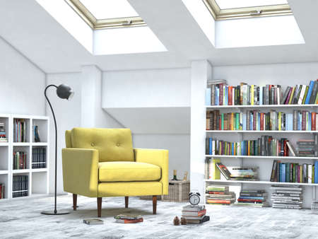 comfortable sofa: modern interior white room with books and yellow sofa Stock Photo