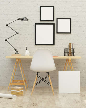 illustration of poster frame template, workspace, background