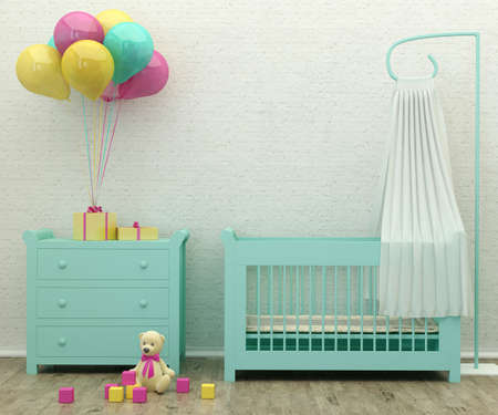 kids  bed room mint interior 3d rendering image with presents, balloons and a toy