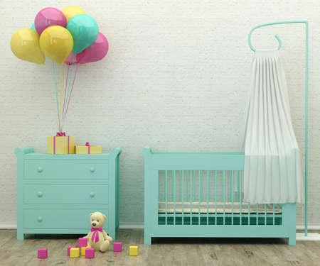 menta: ni�os cama de menta habitaci�n interior imagen Representaci�n 3d con regalos, globos y un juguete Foto de archivo