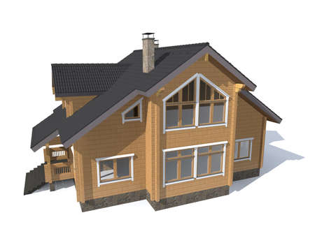 architecture model: 3D architecture model gray house  isolated in white