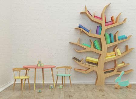 biblioteca: niños sala de juegos Imagen del interior 3D con coloridos libros y juguetes