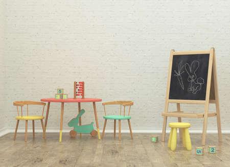 enfants salle de jeu de rendu d'image 3D intérieur avec conseil d'administration et jouets