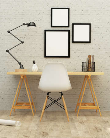 White room interior with a brick wall. 3d rendering
