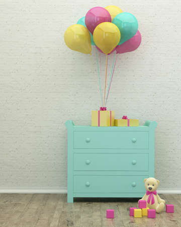 kidsroom: kids room mint interior 3d rendering image with presents, balloons and a toy Stock Photo