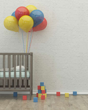 kids room interior 3d render image with bed, balloons and toys