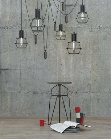 muebles de madera: Fondo interior de estilo loft moderno con muro de hormigón, render 3D