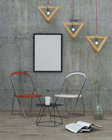 room decor: mock up poster frame in modern interior background, 3D render