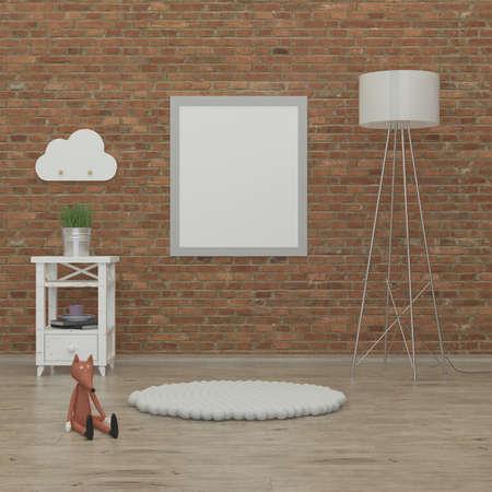muebles de madera: imagen Representación 3d interior niños dormitorio con pared de ladrillo, muebles libros blancos y un zorro Foto de archivo