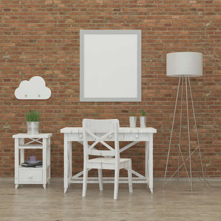 kidsroom: kids bedroom interior 3d rendering image with brick wall, white furniture and a fox Stock Photo