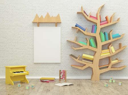 Enfants salle de jeu 3d image intérieure de rendu avec des livres et des jouets colorés Banque d'images - 47351291
